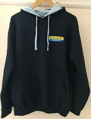 New Holland Tractor Embroidered Contrast Hoodie - XS to 2XL