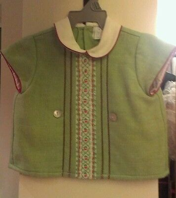 Unusual vintage Spanish green boy/girl baby top 3 mths circa 1960s/70s