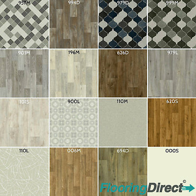 Clearance Non Slip Vinyl Flooring Lino Roll End Kitchen Bathroom Off Cut CHEAP