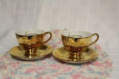 "2 GOLD FIRED ""ANNIVERSARY"" TEACUPS & SAUCERS - ROYAL WINTON Grimwades England"