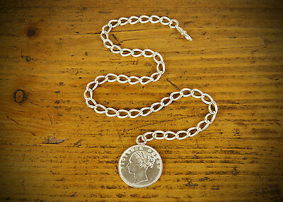 ENGLISH STERLING SILVER POCKET WATCH CHAIN c.1840s, VICTORIAN COIN FOB