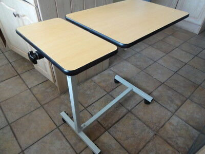 Deluxe Multi Purpose Over Bed Wheeled Table With Side Table & Tilting Main Table