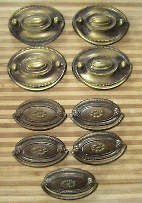 9 Vintage Hepple White Drawer Pulls Brass Furniture Cabinets 4 Large 5 Daisy Ctr