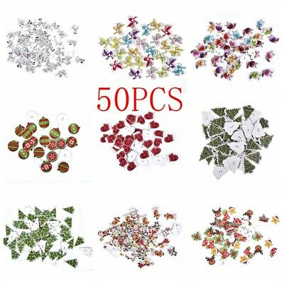 Green Christmas Tree Wood Button 5/30/50Pcs Apparel Sewing Card Craft DIY Buckle