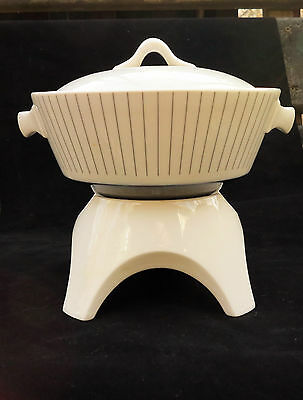 Hall Flame Ware Mid Century Fondue Pot And Warmer Stand Set