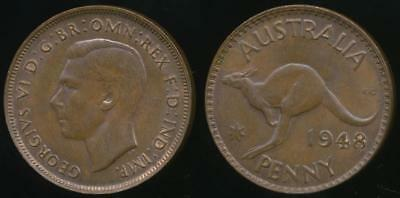 Australia, 1948(m) One Penny, 1d, George VI - Uncirculated