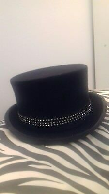Christys Navy  Wool Top Hat complete with Crystal Band Immaculate Condition