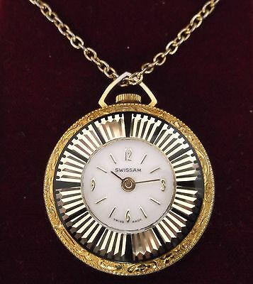 Vintage Swissam Swiss Made Gold Black Pendant Necklace Wind Up Watch Boxed