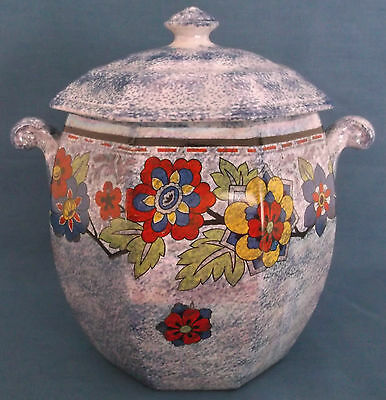 Vintage Rubian Art Pottery Blue Lustre Coloured Floral Lidded Biscuit Barrel