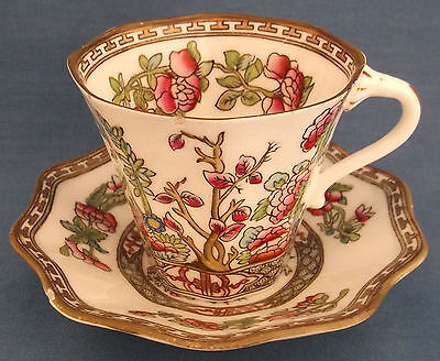 ANTIQUE VINTAGE c1891 COALPORT INDIAN TREE SCALLOPED CUP & SAUCER