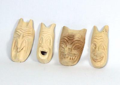 Set Four Pacific Northwest First Nations Lelooska Small Hand Carved Wood Masks