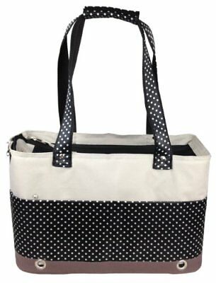 Pet Life Fashion Tote Spotted Pet Carrier, Medium, Blac