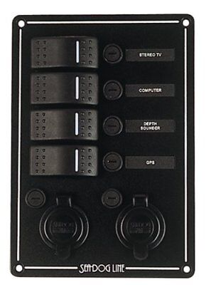 Sea Dog 425146-1  Rocker Switch Panel with 4 Switches &