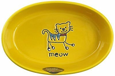 """Petrageous Designs Silly Kitty 6.50"""" Oval Pet Bowl, Yel"""