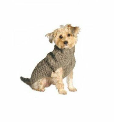 Chilly Dog Cable Dog Sweater, XX-Small, Grey