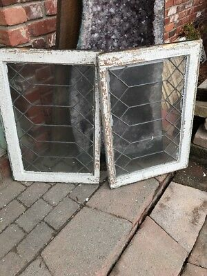 St 1575 Match Pair Antique Geometric Leaded Glass Windows