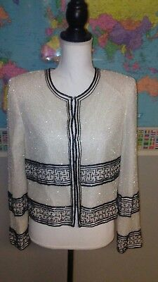 Laurence Kazar Women's size Large Jacket White and Black Beads