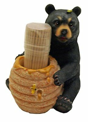 1 X Cute Black Bear / Honey Pot Toothpick Holder - Deco