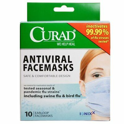 2 Pack of Curad Antiviral Medical Face Mask, Pleated,