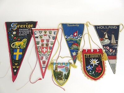 VTG EUROPEAN CLOTH PENNANT FLAG LOT Sweden Italy Switzerland Holland Embroidered