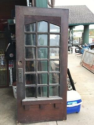 An Oak Antique All Beveled Glass Entrance Door Unique 35.75 X 79.75