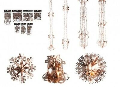 Rose Gold Christmas Foil Ceiling Decoration Garlands, Bells, Stars, Snowflakes,