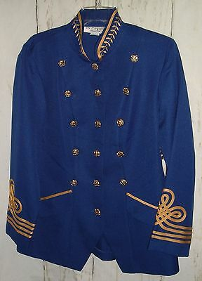 Vtg 80s Lew Magram Military Retro New Blazer Jacket 16 Blue Gold Trim Buttons