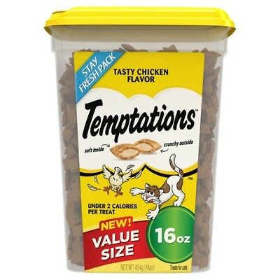 New Temptations Tasty Chicken 16 Oz Crunchy Outside Soft Inside Treats For Cats