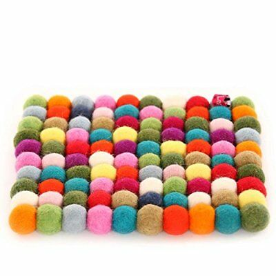 Happy As Larry Round Felt Ball Trivet(s) and Coasters (