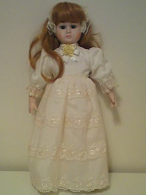 Vintage Collector's Porcelain Doll, 14 inch, Strawberry Blonde Hair, New & Boxed