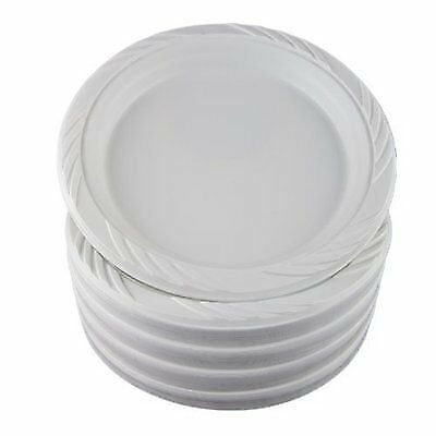 """100 White 9"""" Plastic Party Plates Disposable Dinner Wed"""