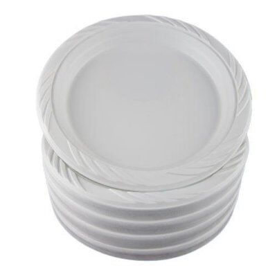 100 White Plastic Party Plates Disposable Dinner Dishes