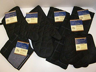 9 Piece Solid Black Colored Bundle of Kitchen Linens by