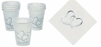 50 Two Hearts Wedding Cups + 50 Matching Two Hearts Coc