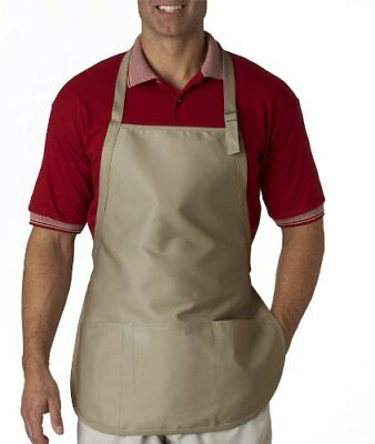 UltraClub Large Two-Pocket Bib Apron - White