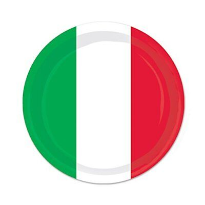 """Beistle 58080 Plates (8 Pack), 7"""", Red/White/Green"""