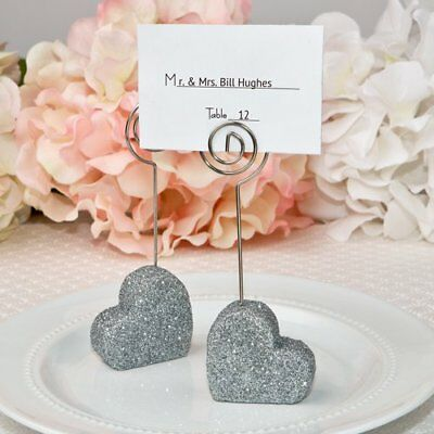 30 Heart Themed Silver Glitter Place Card Holder from F
