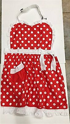 Disney Parks Minnie Mouse Full Chef Apron Red White Pol