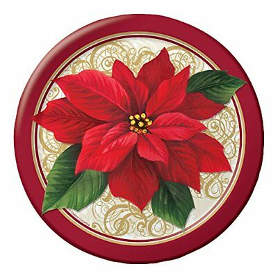 Sturdy Style Round Paper Dinner Plates, Poinsettia Lace