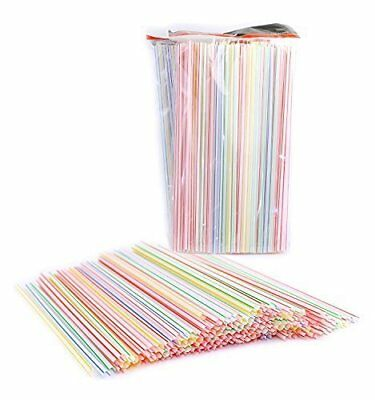 Pack of 450 Disposable Plastic Straight Straws, Assorte