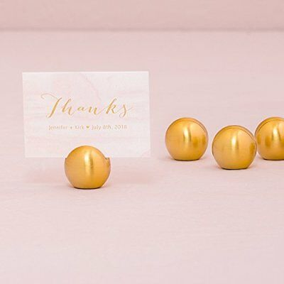 Classic Round Place Card Holder - Brushed Gold - Packag