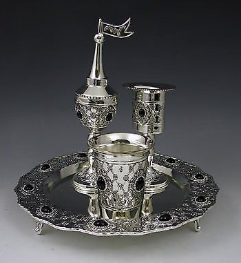 Havdalah Set Silver plated With stones