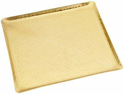 """KINDWER Gilded Square Hammered Tray, 12"""", Gold"""