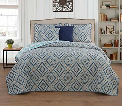 Geneva Home Fasion Luna 5-piece Quilt Set Queen, Blue