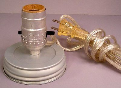 Darice Canning Jar Lamp Adapter with Silver Cord