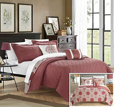 Chic Home 5 Piece Zoe Hexagon Quilted Embroidered With