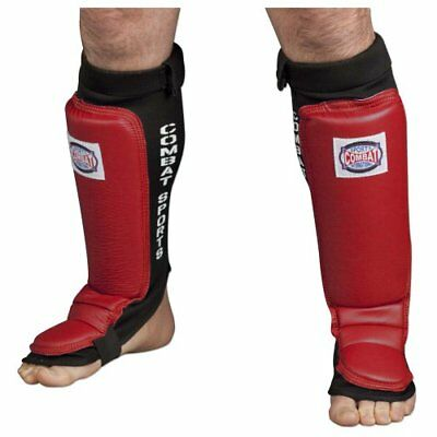 Combat Sports MMA Training Shin Guards (Red, Large)