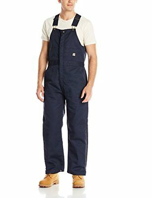 Berne Men's Deluxe Twill Insulated Bib Overall, Navy, M