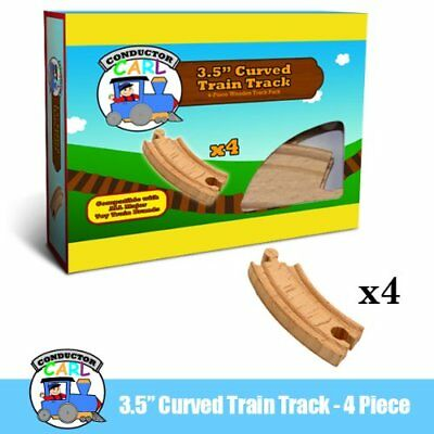 Four (4) Pcs of 3.5 Inch Curved Wooden Train Tracks com