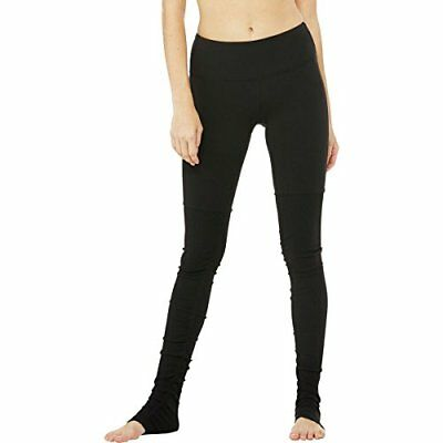 Alo Yoga Women's Goddess Ribbed Legging, Black/Black, L